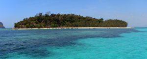 approaching Bamboo Island beach across clear blue water
