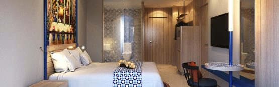photo of modern hotel suite bedroom and bathroom