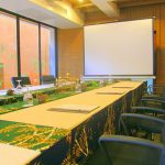 photo of a meeting room and projection screen