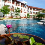 Photo of lotus plants pool side at luxury resort