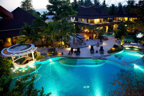 aerial photo of swimming pool at evening time, The Elements Resort Krabi