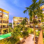 picture at evening time in modern resort hotel in tropical krabi