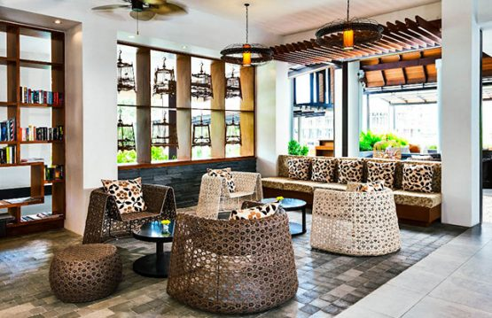 photo of open plan contemporary decorated hotel lobby in Krabi
