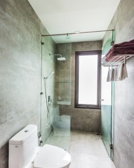 photo of modern toilet and shower area in holiday villa Krabi Thailand