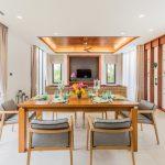 photo of dining table set in modern villa ao nang