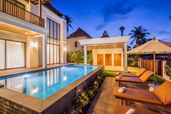 external photo of villa swimming pool area with garden furniture and sala in Krabi
