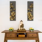 photo of thai style furniture and wall decorations in luxury holiday villa for rent