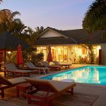 photo of evening time by swimming pool at rental villa in ao nang