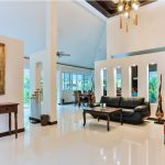 photo of spacious living area and furniture in pool villa Thailand