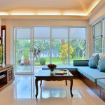 photo of lounge area, TV and tropical garden view in pool villa for rent
