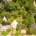 aerial birds-eye view of the restaurant and produce gardens at ruean mai restaurant near krabi town