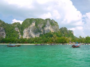 approaching the beach at railay bay east by longtail boat