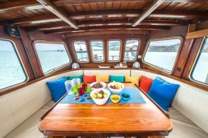 interior of a luxury sailing yacht